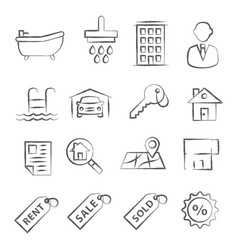 real estate doodle icons vector image