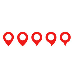 red pin map set gps point location iconsmap pin vector image