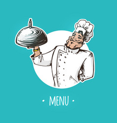 restaurant menu cover with chef character vector image