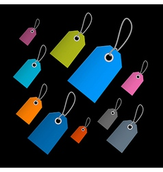Retro Paper Labels Tags With Strings on Black vector image