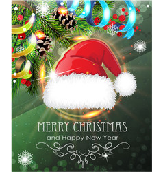 santa hat with fir branches and tinsel vector image