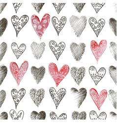 Seamless background of beautiful hearts vector