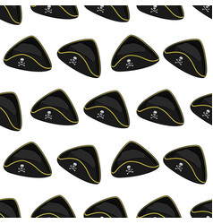 seamless pattern with pirate hat vector image