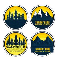 Set labels with wanderlust landscape and nature vector