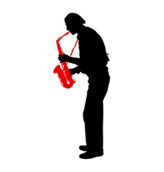 silhouette of musician playing the saxophone on a vector image