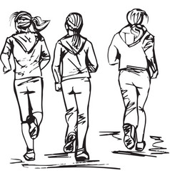 sketch of runners in group vector image