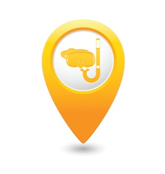 Snorkel and mask symbol yellow map pointer vector