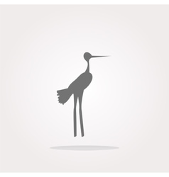 Stork on web icon button isolated on white vector image