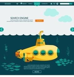 Submarine undersea SEO website template vector