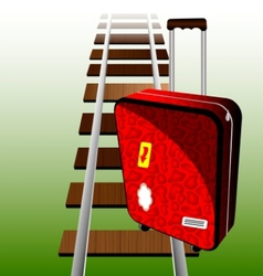 Suitcase on the rails vector