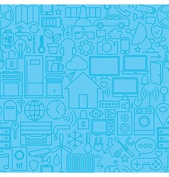 Thin Smart Home Line Seamless Light Blue Pattern vector image