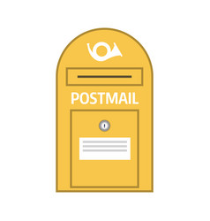 Vintage yellow postbox or mail post icon vector