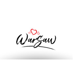 Warsaw europe european city name love heart vector