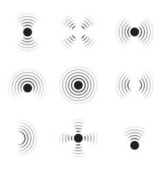 wave sonar radar with signal icon pulse vector image