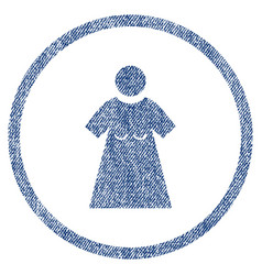 Woman figure rounded fabric textured icon vector