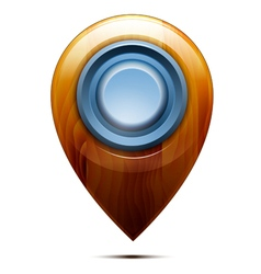 Wooden map pointer blue button vector