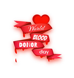 world blood donor day concept with red heart vector image