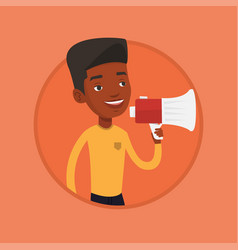 Young man speaking into megaphone vector