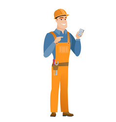 caucasian builder holding a mobile phone vector image vector image