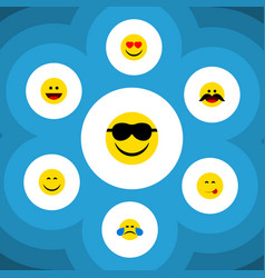 Flat icon face set of cold sweat cheerful smile vector