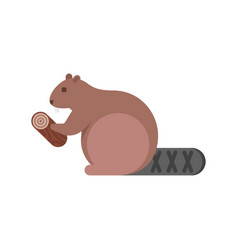 flat style of beaver vector image vector image