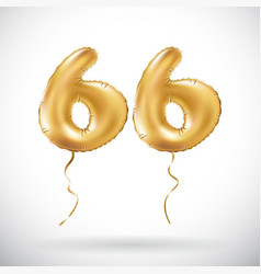 golden number 66 sixty six metallic balloon party vector image