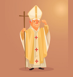 happy smiling catholic priest mascot character vector image vector image