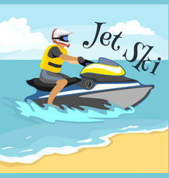 jet ski water extreme sports isolated design vector image