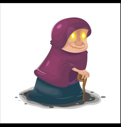 old woman mysterious cartoon character vector image vector image