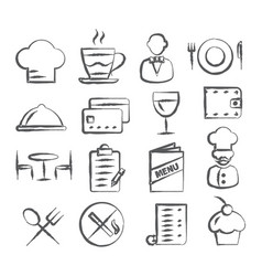 restaurant doodle icons vector image vector image