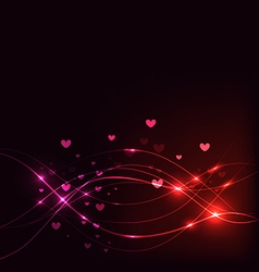 Background with Overlaying wavy lines and hearts vector image vector image