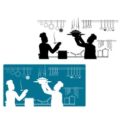 Chefs in uniform cooking on the kitchen vector image