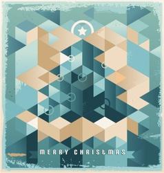 Christmas tree retro background design vector image vector image