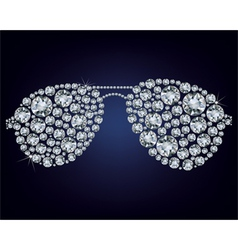 glasses made up a lot of diamonds vector image vector image