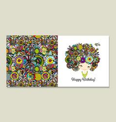 greeting card design floral female portrait vector image