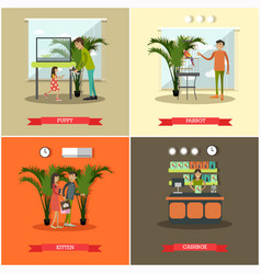 set of pet store posters in flat style vector image vector image