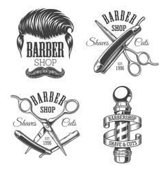 Set of vintage barbershop emblems vector image vector image