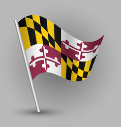 waving triangle american state flag maryland vector image