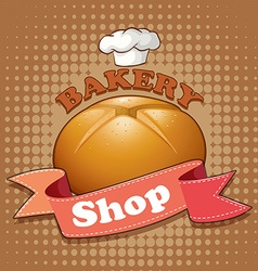 Bakery shop sign with bread and ribbon vector