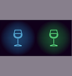 blue and green neon wineglass vector image
