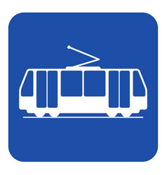 blue white information sign - tram icon vector image vector image