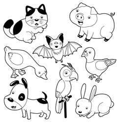 Cute animals black and white set vector image