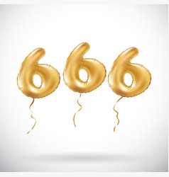 golden number 666 six hundred sixty six metallic vector image