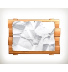Wooden sign and paper vector image vector image