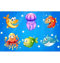 A sea with smiling creatures vector