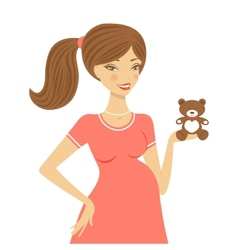 Beautiful mom to be holding teddy bear vector image vector image