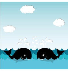 Card with whales vector image vector image