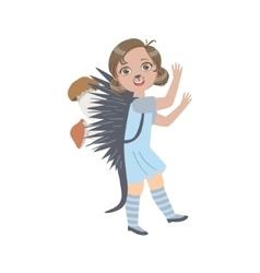 Girl Wearing Hedgehog Animal Costume vector image vector image