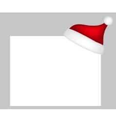 Hat of Santa Claus with a blank white banner vector image vector image