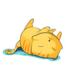orange cat cute cartoon sleep vector image